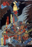Vintage Japanese poster - Demons flee from samurai